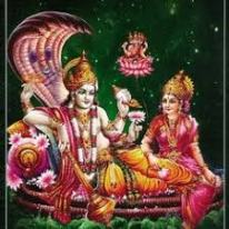 Vishnu with Laxmi on Sheshnaag; Brahma created on lotus that grew from Vishnu's naval.